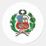 Escudo de armas de Perú Pegatina Redonda