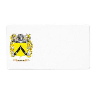 Escudo de armas de Philip (escudo de la familia) Etiqueta De Envío