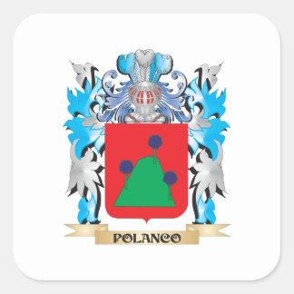 Escudo de armas de Polanco - escudo de la familia Calcomanía Cuadradas Personalizadas