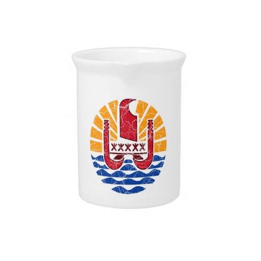 Escudo de armas de Polinesia francesa Jarra Para Bebida