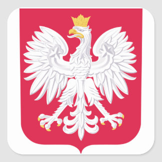 Escudo de armas de Polonia Calcomanías Cuadradass