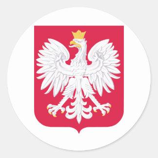 Escudo de armas de Polonia Pegatina Redonda