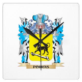 Escudo de armas de Porras - escudo de la familia Reloj Cuadrado