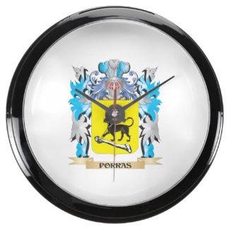 Escudo de armas de Porras - escudo de la familia Relojes Aqua Clock