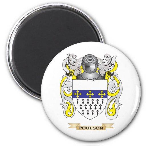 Escudo de armas de Poulson (escudo de la familia) Imanes