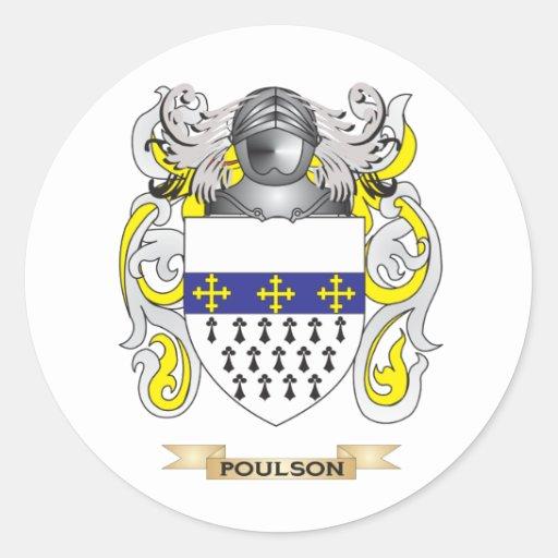 Escudo de armas de Poulson (escudo de la familia) Pegatinas Redondas