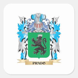 Escudo de armas de Prado - escudo de la familia Calcomanias Cuadradas