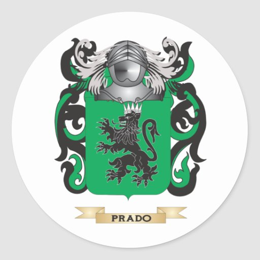 Escudo de armas de Prado (escudo de la familia) Pegatina Redonda