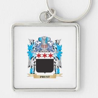 Escudo de armas de Prest - escudo de la familia Llavero Cuadrado Plateado
