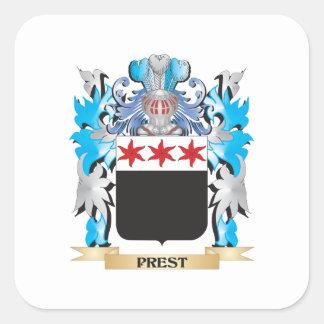 Escudo de armas de Prest - escudo de la familia Pegatina Cuadrada