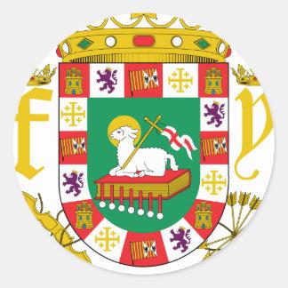 Escudo de armas de Puerto Rico Pegatina Redonda