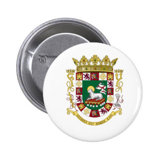 Escudo de armas de Puerto Rico Pin Redondo 5 Cm
