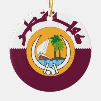Escudo de armas de Qatar Adorno Redondo De Cerámica