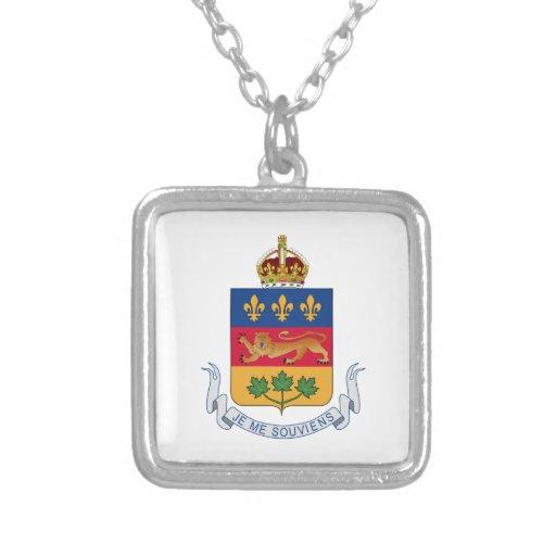 Escudo de armas de Quebec (Canadá) Colgante Cuadrado