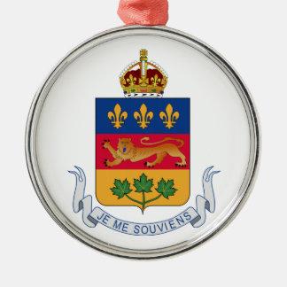 Escudo de armas de Quebec (Canadá) Adorno Redondo Plateado