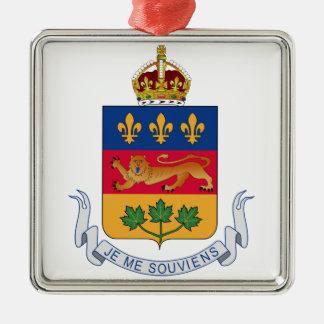 Escudo de armas de Quebec (Canadá) Adorno Cuadrado Plateado