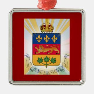 Escudo de armas de Quebec Adorno Cuadrado Plateado