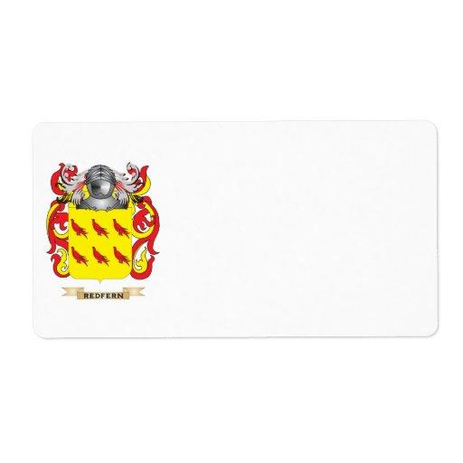 Escudo de armas de Redfern (escudo de la familia) Etiqueta De Envío