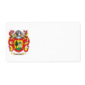 Escudo de armas de Reimer (escudo de la familia) Etiqueta De Envío
