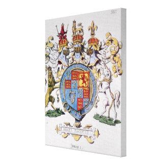 Escudo de armas de rey James I de Inglaterra Lona Envuelta Para Galerías