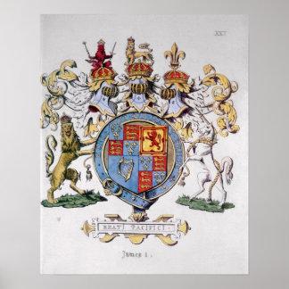 Escudo de armas de rey James I de Inglaterra Póster