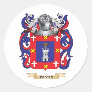 Escudo de armas de Reyes (escudo de la familia) Pegatina Redonda