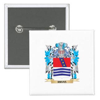 Escudo de armas de Ribas - escudo de la familia Pin Cuadrada 5 Cm