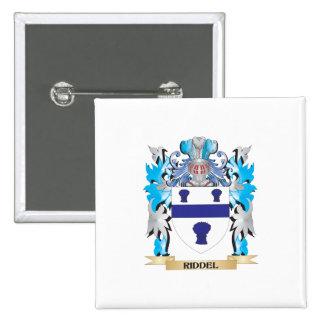 Escudo de armas de Riddel - escudo de la familia Pin Cuadrada 5 Cm