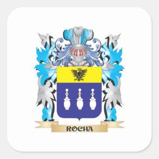 Escudo de armas de Rocha - escudo de la familia Pegatina Cuadrada