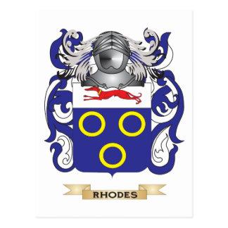 Escudo de armas de Rodas (escudo de la familia) Postal