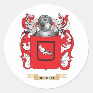 Escudo de armas de Roderick (escudo de la familia) Pegatina Redonda