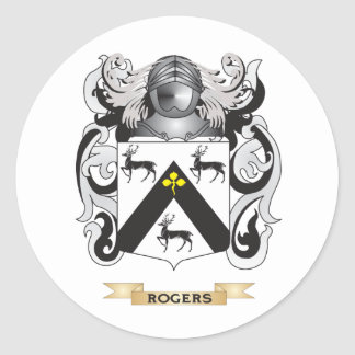 Escudo de armas de Rogers (escudo de la familia) Pegatina Redonda