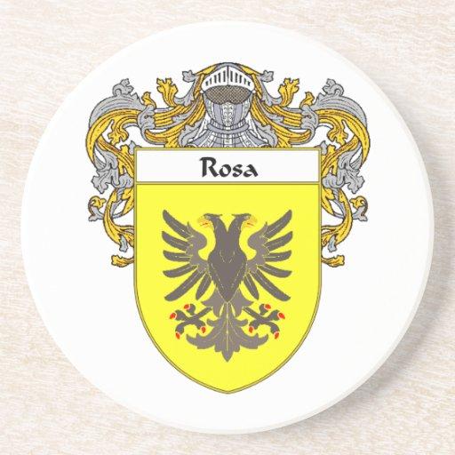 Escudo de armas de Rosa/escudo de la familia Posavasos Cerveza