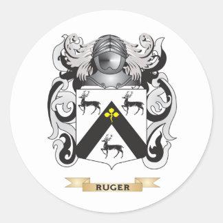 Escudo de armas de Ruger (escudo de la familia) Pegatina Redonda