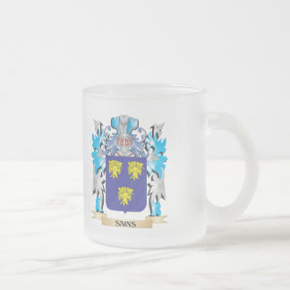 Escudo de armas de Sains - escudo de la familia Taza Cristal Mate