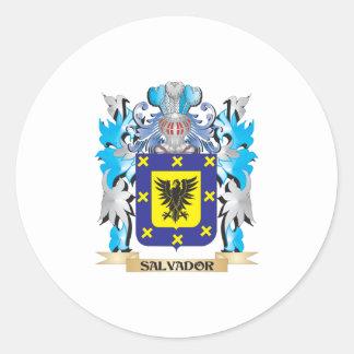 Escudo de armas de Salvador - escudo de la familia Pegatina Redonda