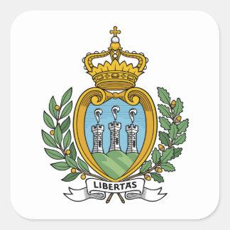 Escudo de armas de San Marino Pegatina Cuadrada