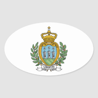 Escudo de armas de San Marino Pegatina Ovalada