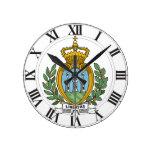 Escudo de armas de San Marino Reloj Redondo Mediano
