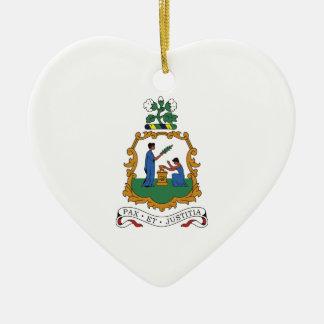 Escudo de armas de San Vicente y las Granadinas Adorno Navideño De Cerámica En Forma De Corazón