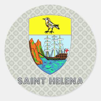 Escudo de armas de Santa Helena Pegatina Redonda