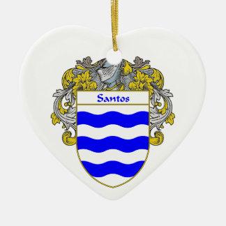Escudo de armas de Santos/escudo de la familia Adorno Navideño De Cerámica En Forma De Corazón