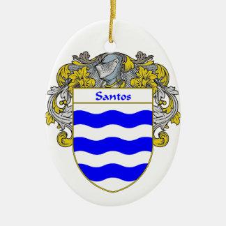 Escudo de armas de Santos/escudo de la familia Adorno Navideño Ovalado De Cerámica