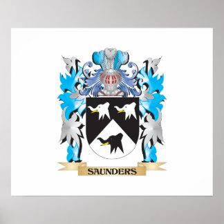 Escudo de armas de Saunders - escudo de la familia Póster