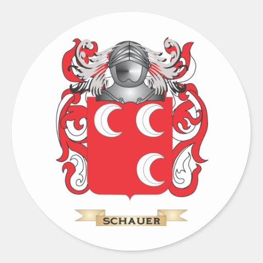 Escudo de armas de Schauer (escudo de la familia) Pegatina Redonda
