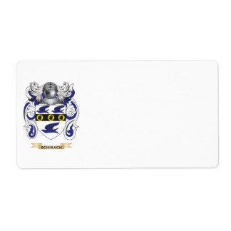 Escudo de armas de Schirach (escudo de la familia) Etiquetas De Envío