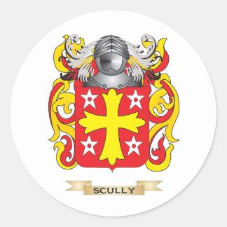 Escudo de armas de Scully escudo de la familia Pegatinas Redondas