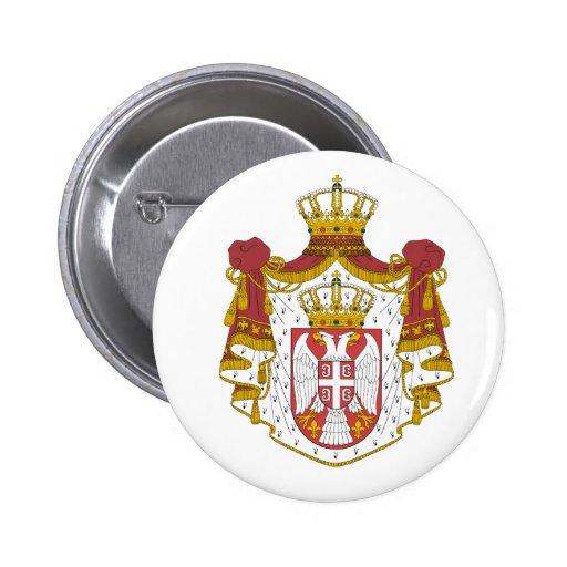 Escudo de armas de Serbia Pin Redondo 5 Cm