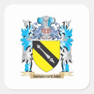 Escudo de armas de Shakespeare - escudo de la Pegatina Cuadrada