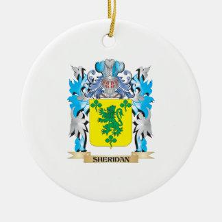 Escudo de armas de Sheridan - escudo de la familia Adorno Navideño Redondo De Cerámica